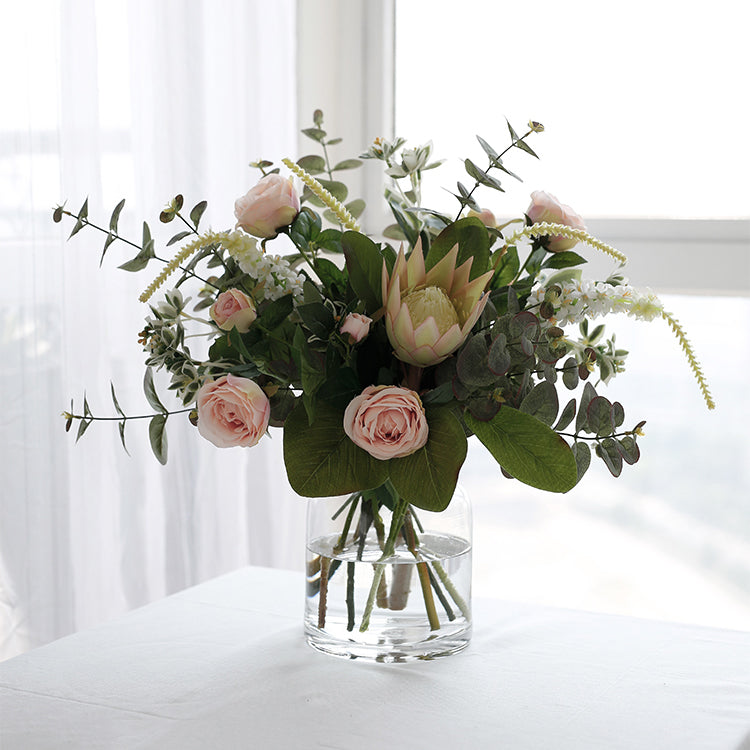 Mixed Artificial Pink Rose and Greenery Stems in Vase