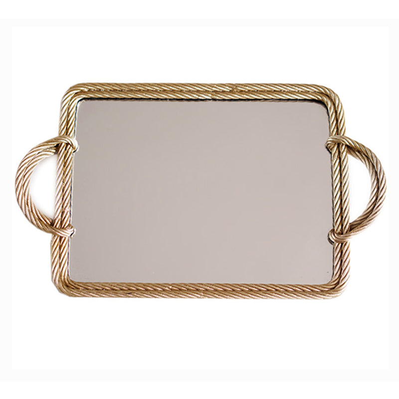 Rope Carving Frame Gold Tea or Vanity Mirrored Tray