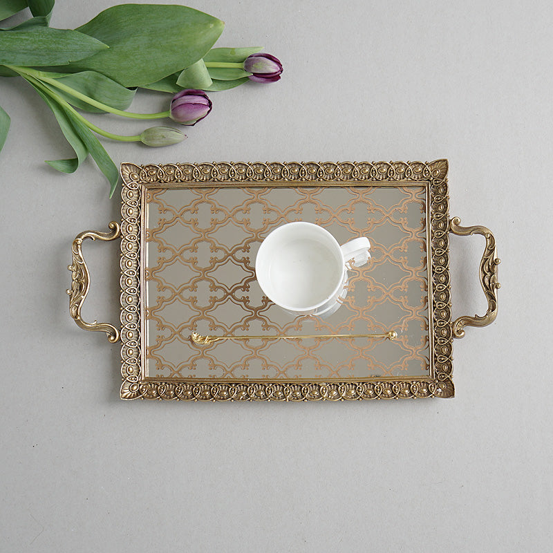 Carving Frame Floral Pattern Mirrored Brass Tea or Vanity Tray