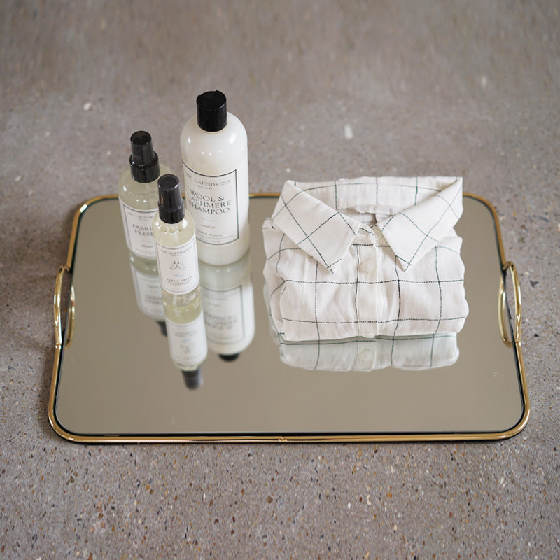 Modern Tray Simple Gold Line Mirrored Tray