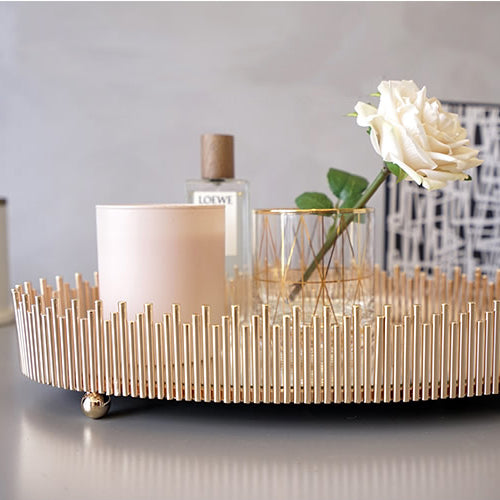 Round Table Tray Decorative Gold Tray Modern Tray