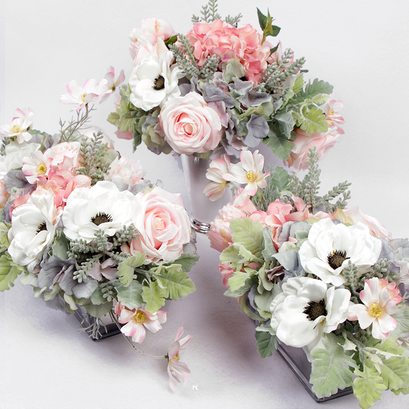 Pink Rose Hydrangea Peony Cosmos and White Anemone Flower Arrangement