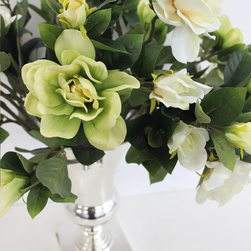 "Silk Gardenia Bloom Stem in Green and White 25"" Tall"