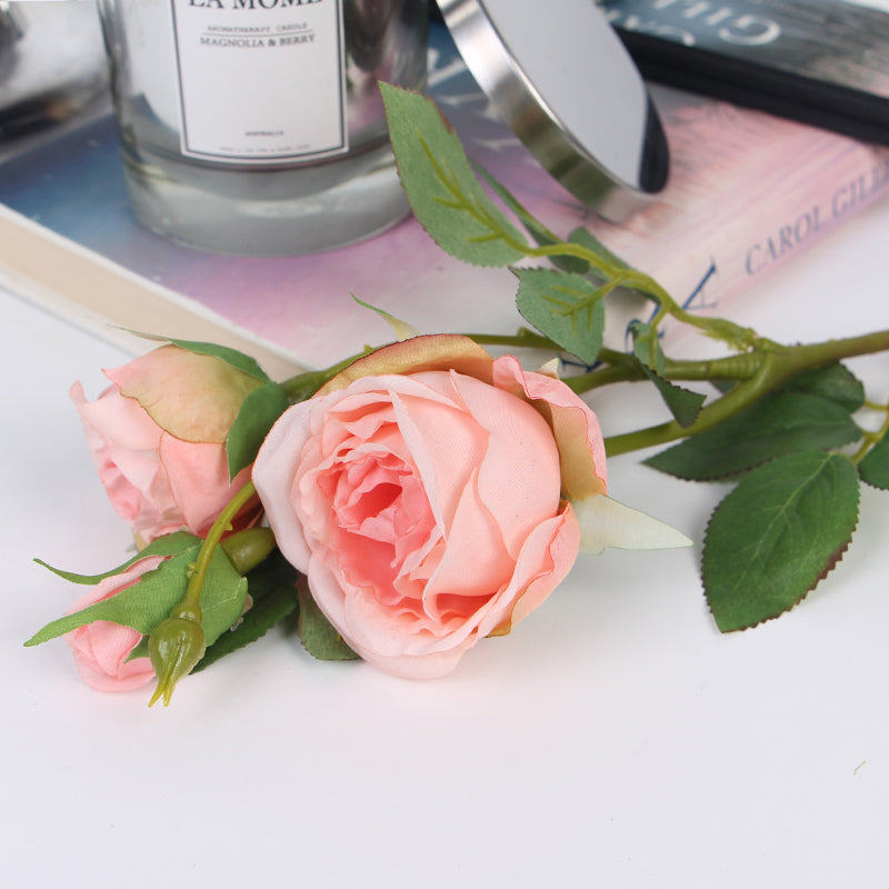 "Silk Rose Stem in Pink and Champagne Pink 17"" Tall"