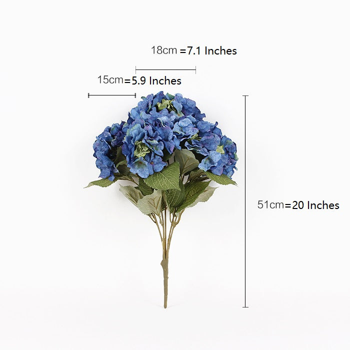 "Silk Hydrangea Bloom Bunch in Blue 21"" Tall"