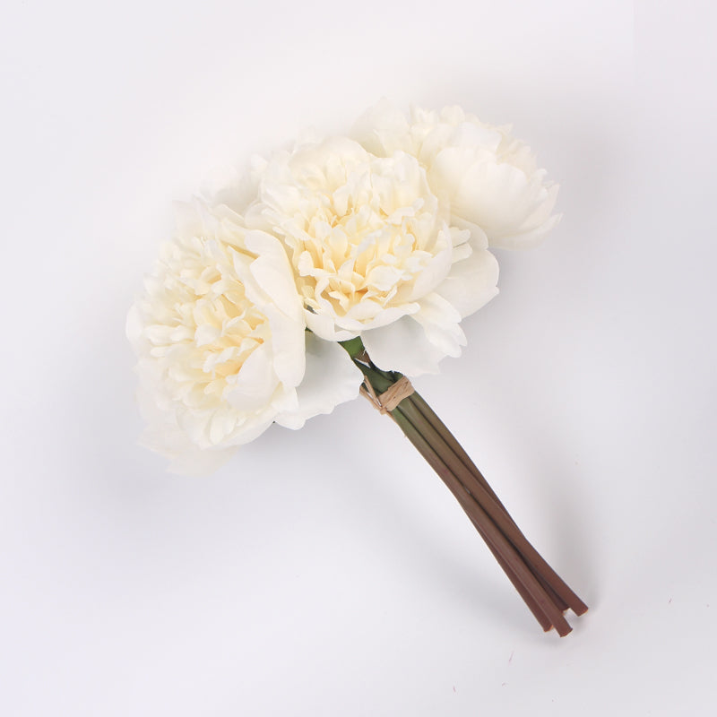 "Silk Peony Bouquet in Cream White 10"" Tall"