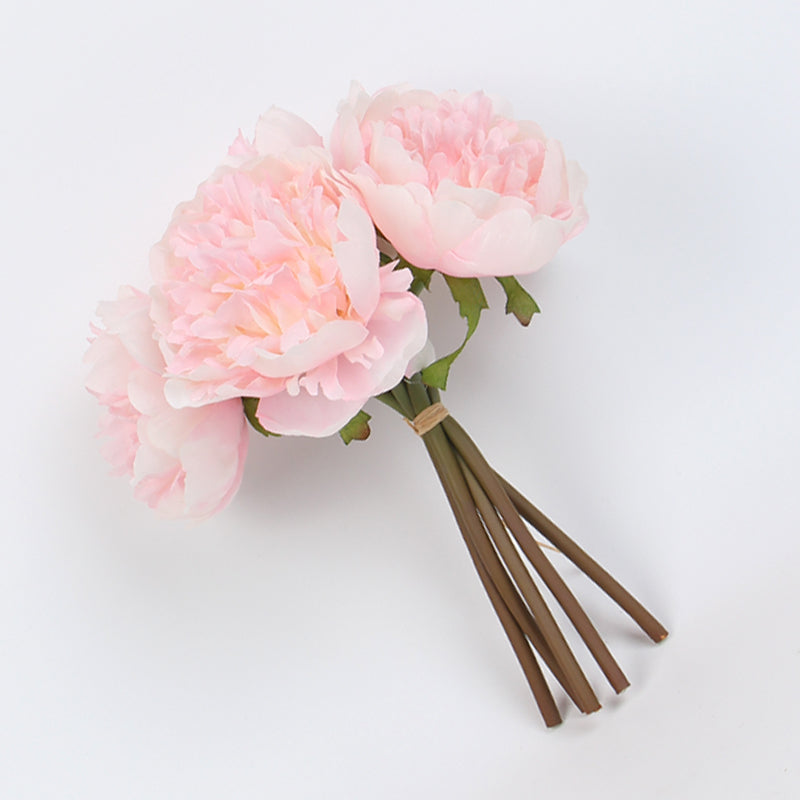 "Silk Peony Bouquet in Light Pink 10"" Tall"