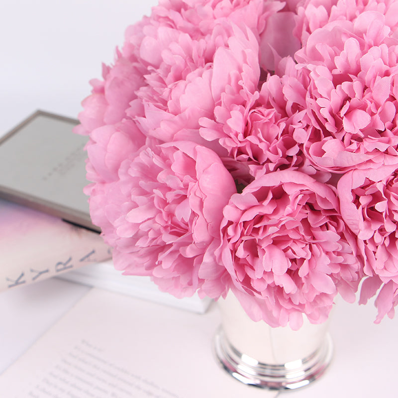 "Silk Peony Bouquet in Pink 10"" Tall"