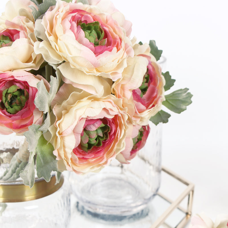 "Silk Ranunculus Asiaticus Buttercup Bouquet in Pink White 11"" Tall"
