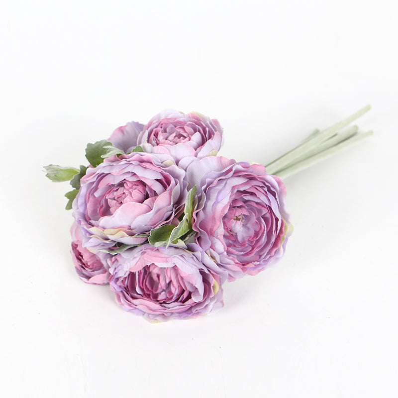 "Silk Ranunculus Asiaticus Buttercup Bouquet in Purple 11"" Tall"