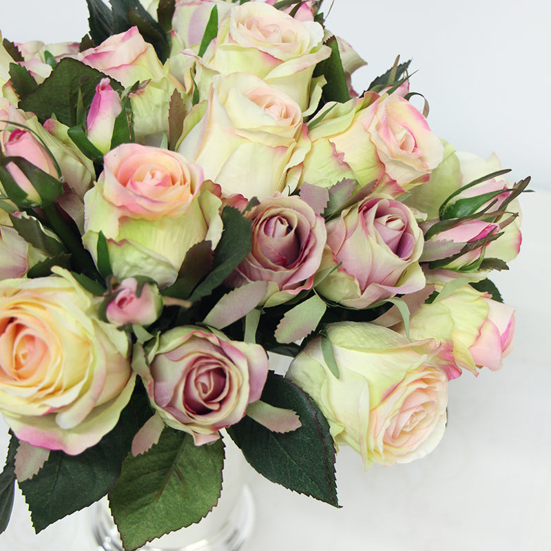 "Silk Rose Bouquet in White 11"" Tall"