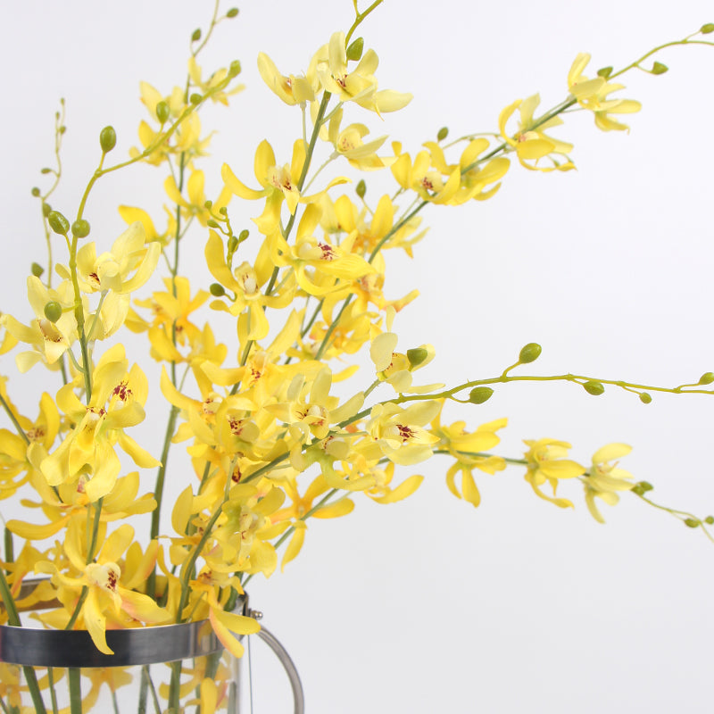 "Silk Asian Style Oncidium Orchid Stem in Yellow 43"" Tall"