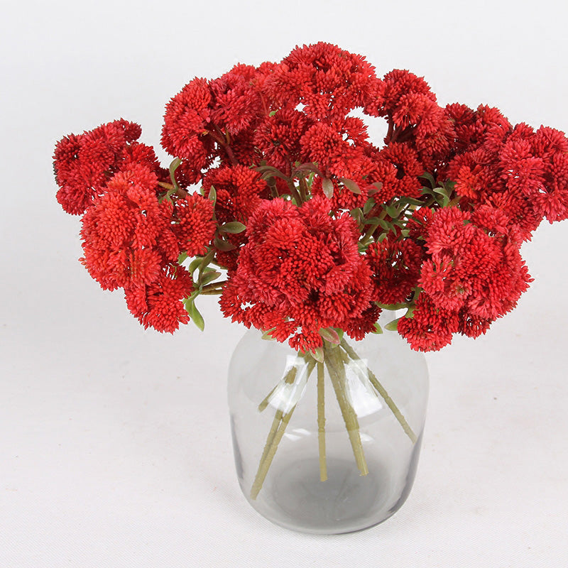 "Artificial Irish Cauliflower Stem in Red 13"" Tall"