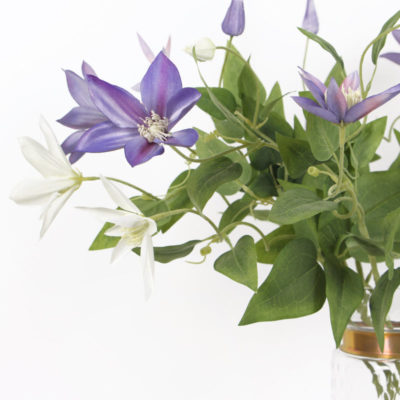 "Silk Clematis Stem in Purple or White 28"" Tall"