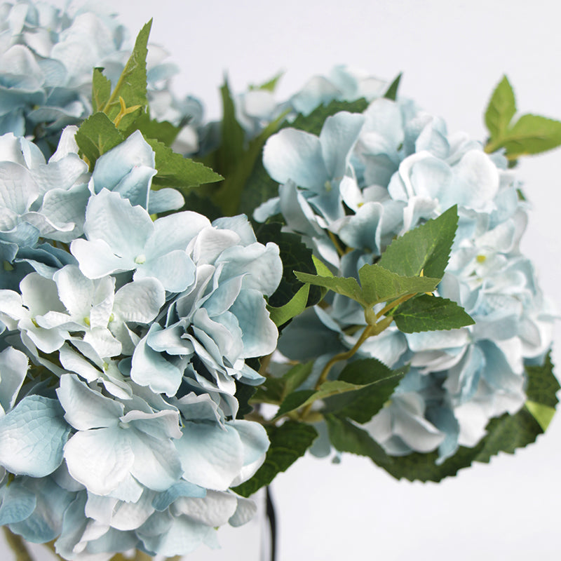 "Silk Hydrangea Stem in Light Blue 18"" Tall"