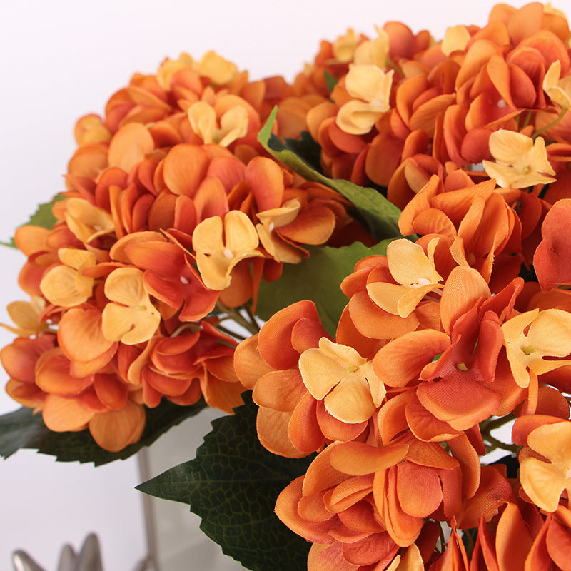 "Silk Hydrangea Stem in Orange 18"" Tall"