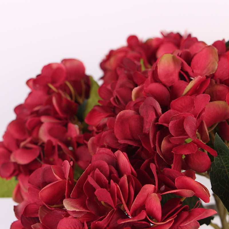 "Silk Hydrangea Stem in Red 18"" Tall"
