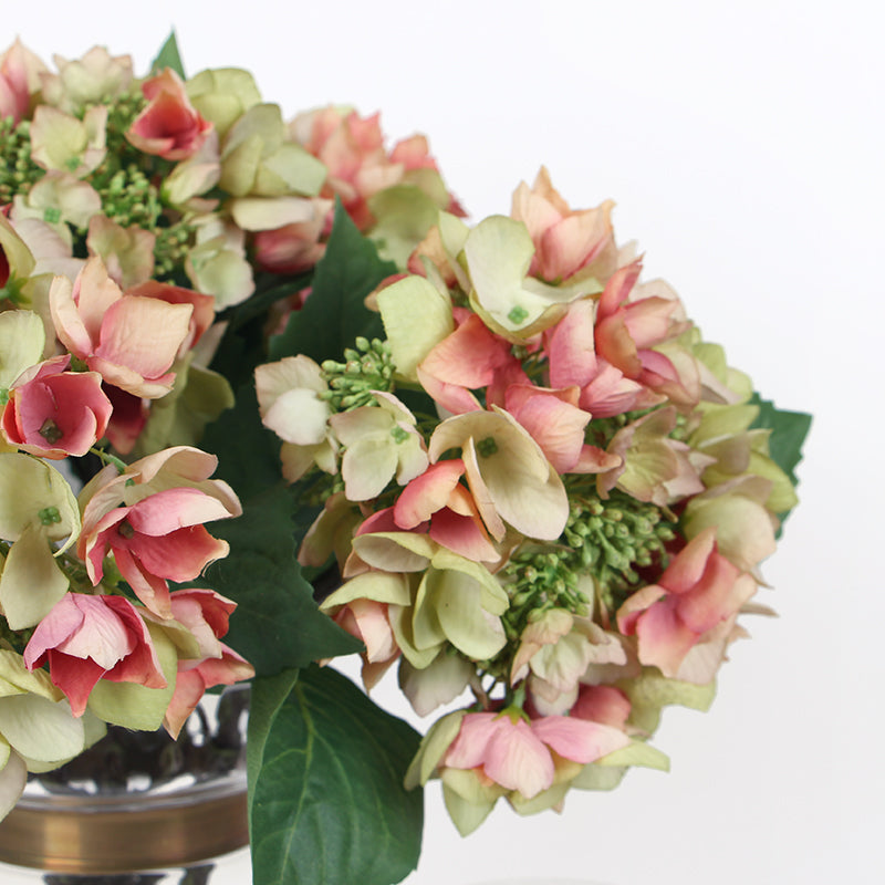 "Silk Hydrangea with Seeds Stem in Green Pink 19"" Tall"