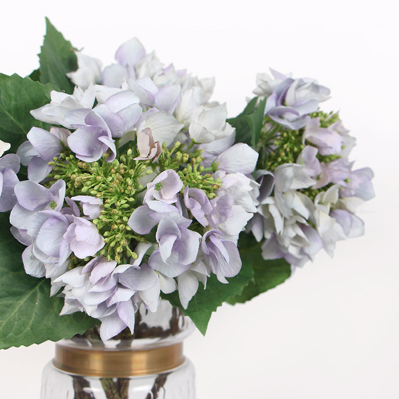 "Silk Hydrangea with Seeds Stem in Light Purple 19"" Tall"