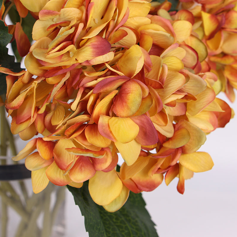 "Silk Hydrangea Stem in Yellow Orange 18"" Tall"