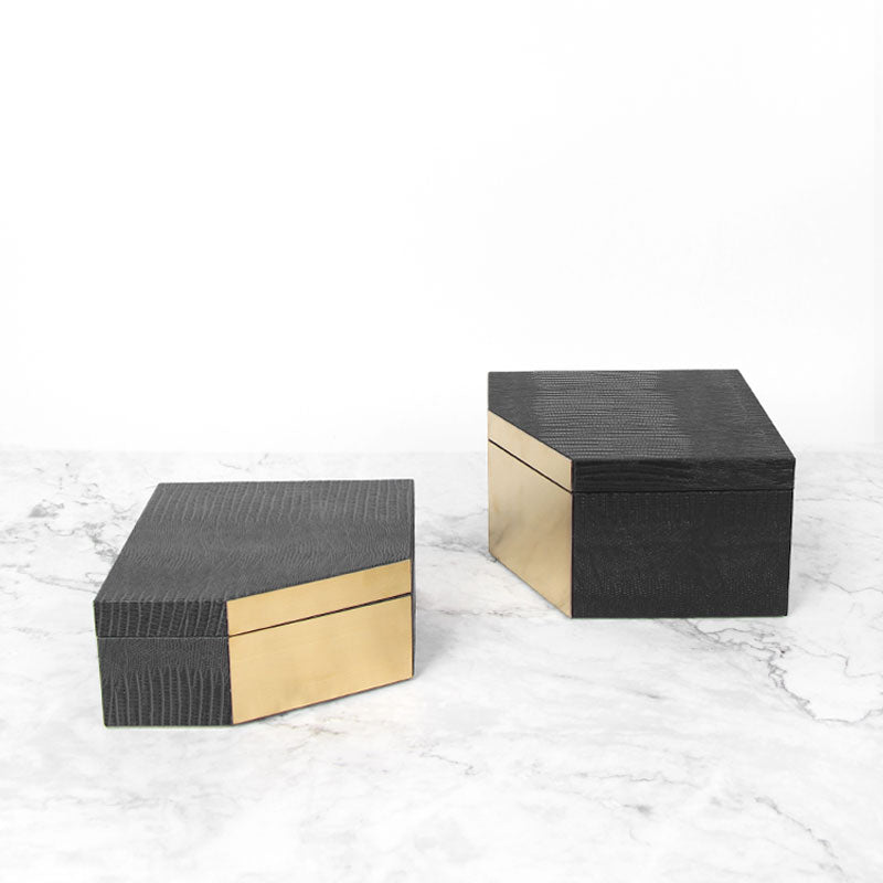 Faux Leather Gold Metal Jewelry Box