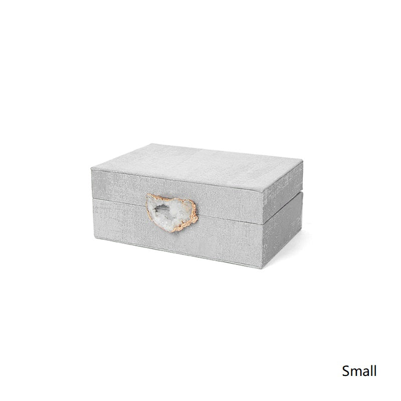 Gray Fabric Crystal Agate Button Jewelry Box