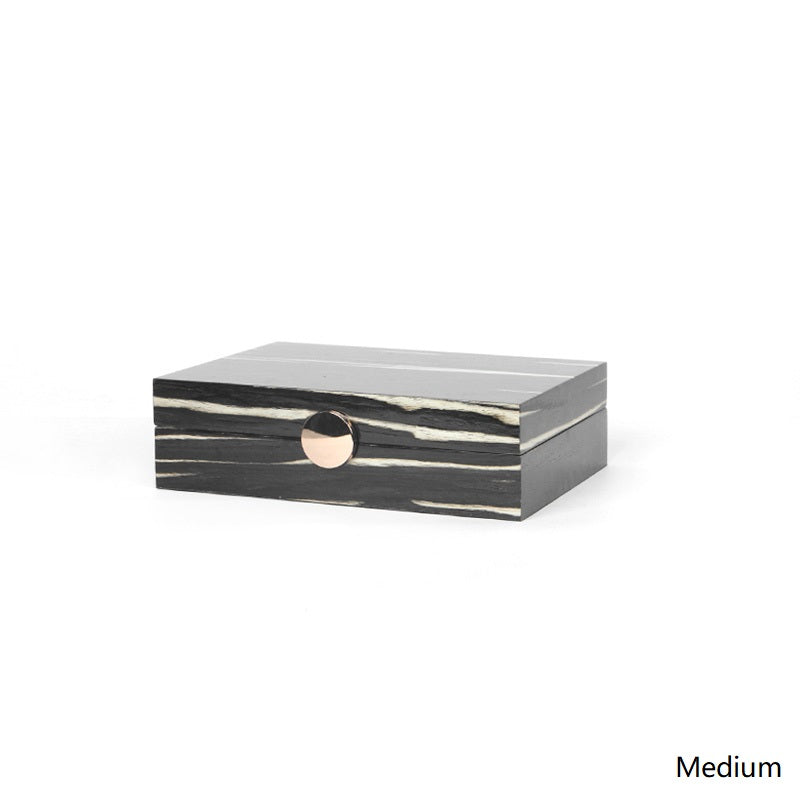 Wood Grain Pattern Black Round Button Jewelry Box Floralgoods