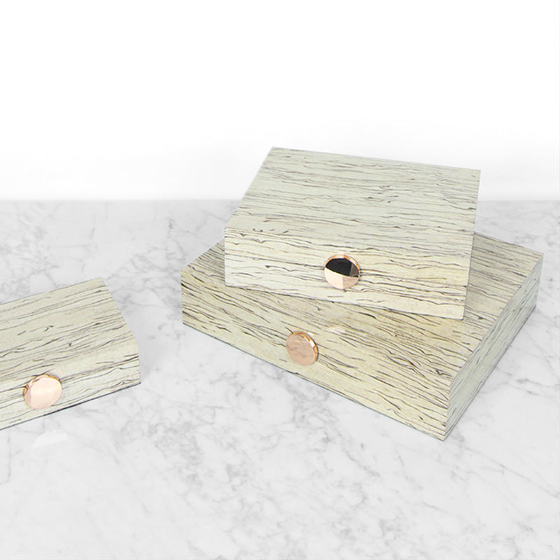 Wood Grain Pattern White Gold Button Jewelry Box