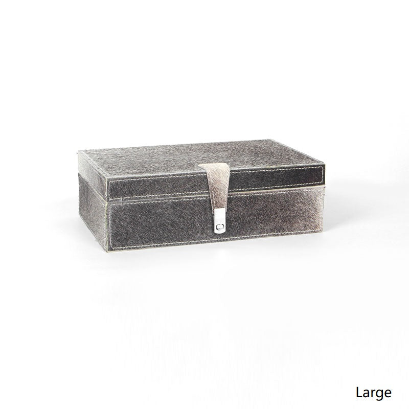 Silver Fur Fabric Jewelry Box