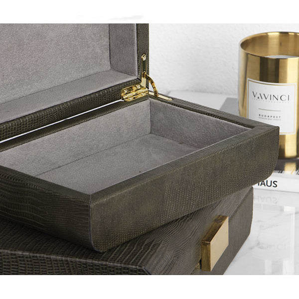 Faux Leather Classic Gold Button Jewelry Box