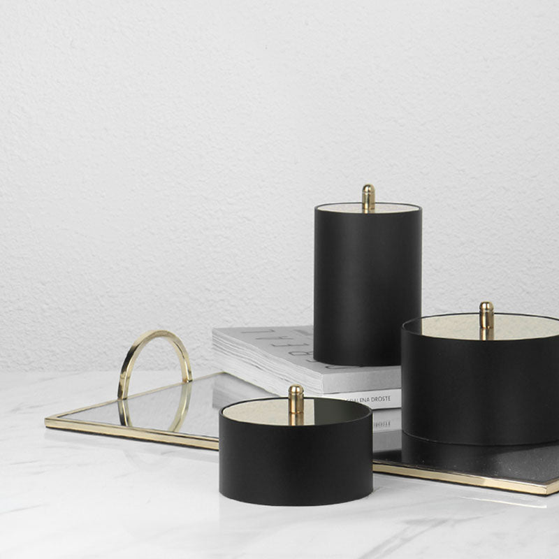 Black Round Decorative Box with Gold Lid