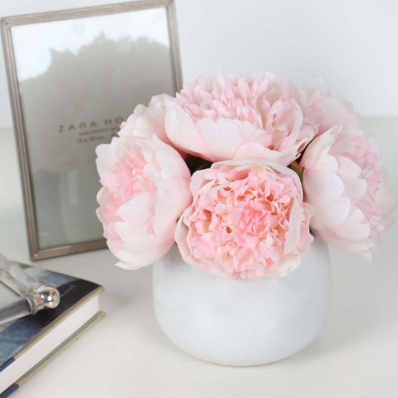 "Light Pink Peony Flower Arrangement 7"" Tall"