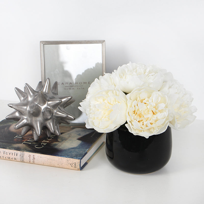 "White Peony Flower Arrangement 7"" Tall"