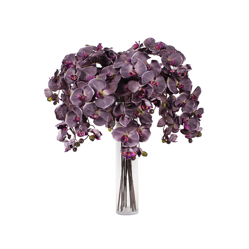 "Silk Butterfly Orchid Stem in Dark Purple 37"" Tall"