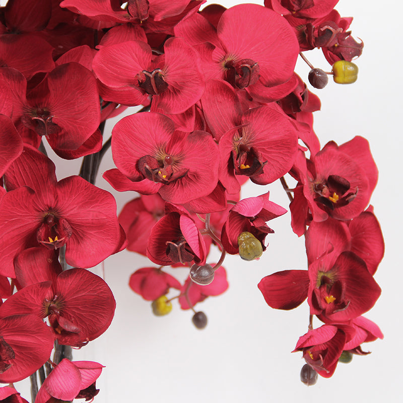 "Silk Butterfly Orchid Stem in Red 37"" Tall"