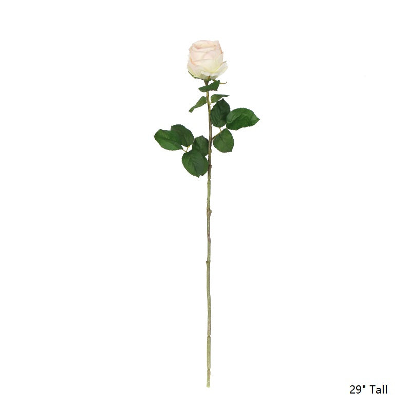 "Silk Single Rose Bloom Stem 29"" Tall"