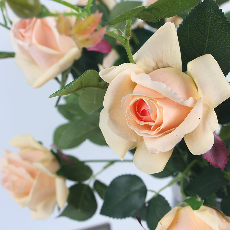 "Real Touch Rose Bloom Stem in Champagne Color 37"" Tall"