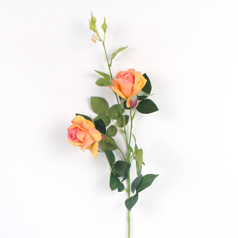"Real Touch Rose Bloom Stem in Orange 37"" Tall"