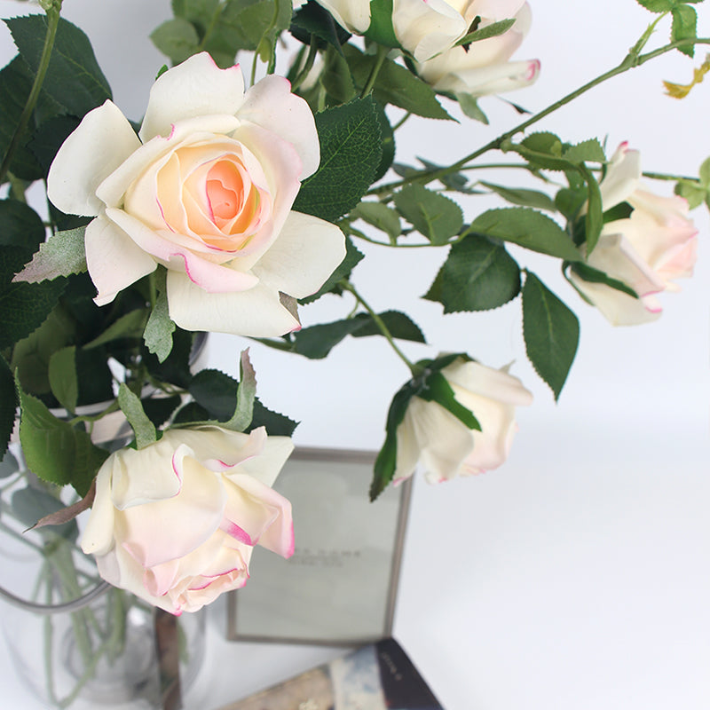 "Real Touch Rose Bloom Stem in Pink White 37"" Tall"