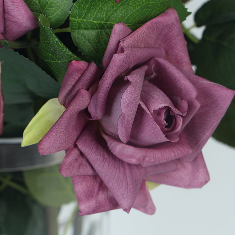 "Real Touch Rose Bloom Stem in Purple 33"" Tall"
