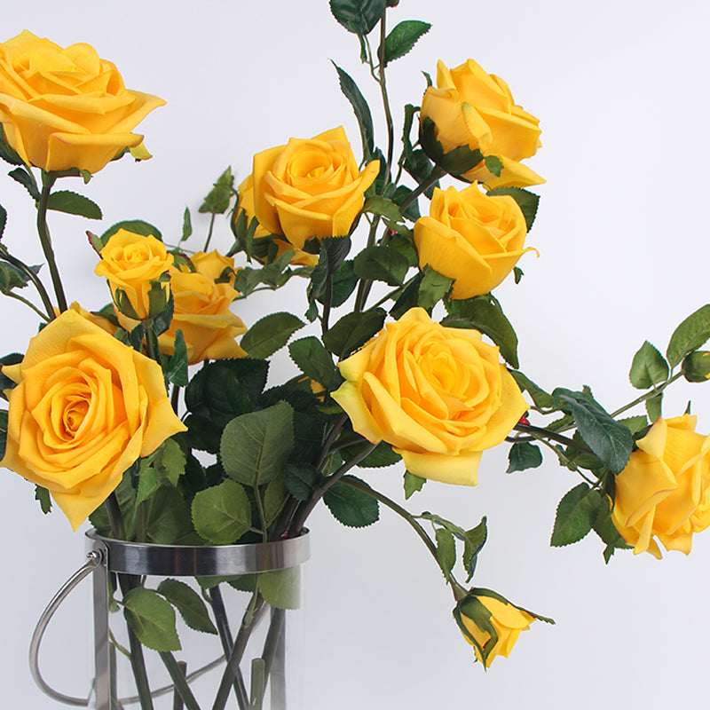 "Real Touch Rose Bloom Stem in Yellow 38"" Tall"