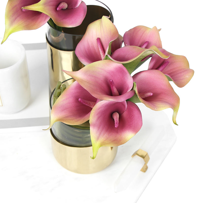 "Real Touch 9 Calla Lily Bouquet in Pink 13"" Tall"