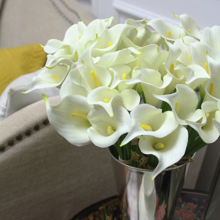 "Real Touch 9 Calla Lily Bouquet in White 13"" Tall"