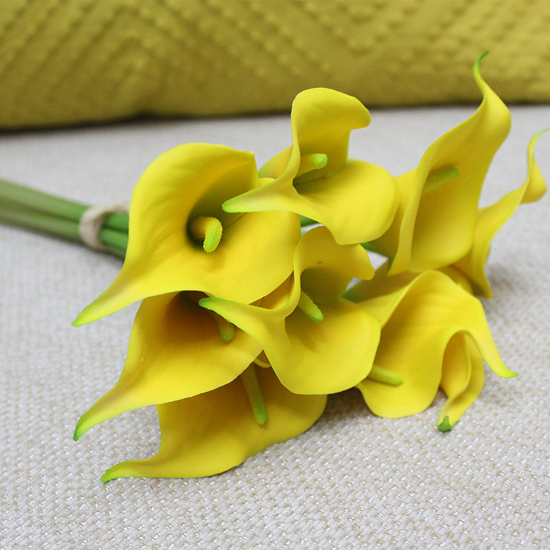 "Real Touch 9 Calla Lily Bouquet in Yellow 13"" Tall"