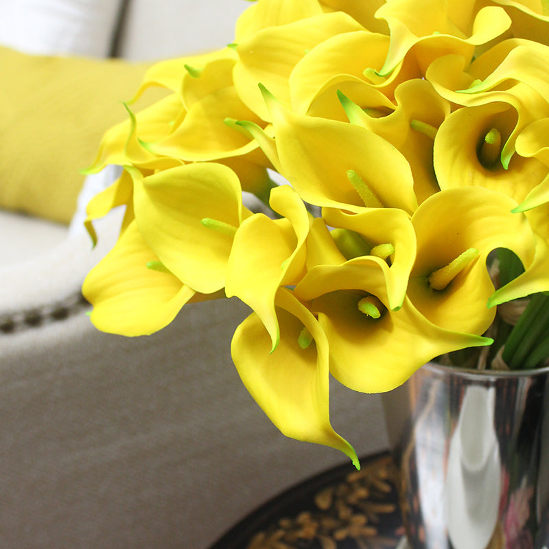 Real Touch 9 Calla Lily Bouquet in Yellow 13