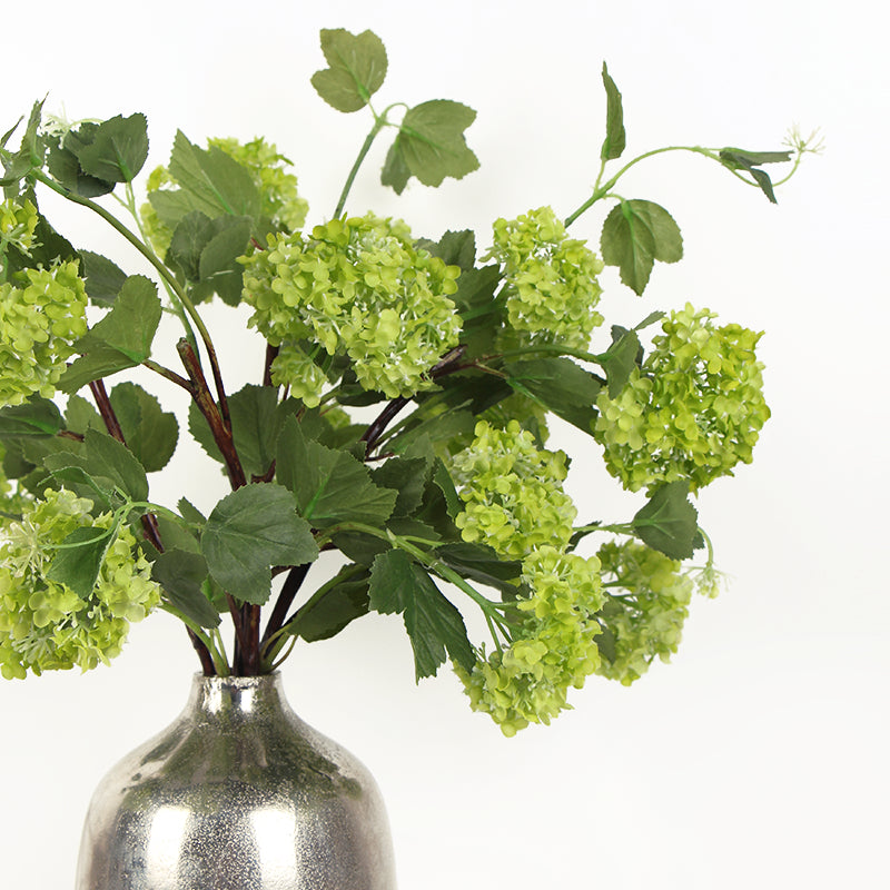 "Silk Single Hydrangea Stem in Green 19"" Tall"
