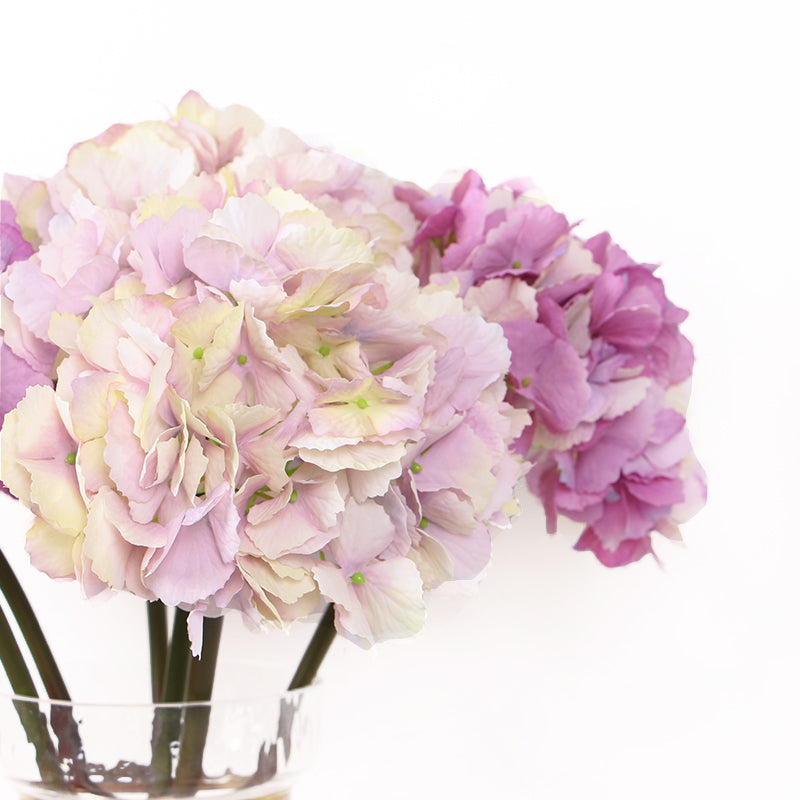"Silk Hydrangea Stem in Light Pink and Rose Pink 20"" Tall"