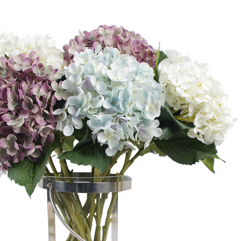 "Silk Hydrangea Small Petal Stem in Blue Purple and White 20"" Tall"