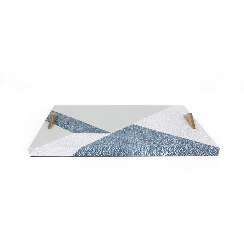 Faux Leather Abstract Blue Decorative Tray