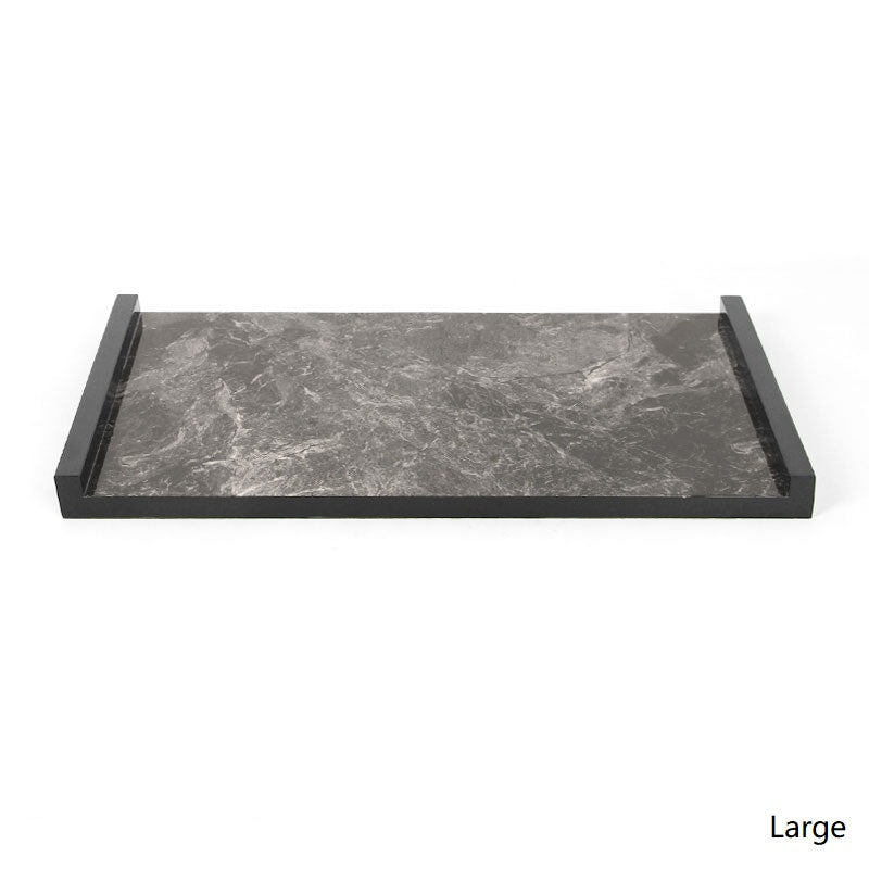 Black Modern Marble Pattern Wood Tray